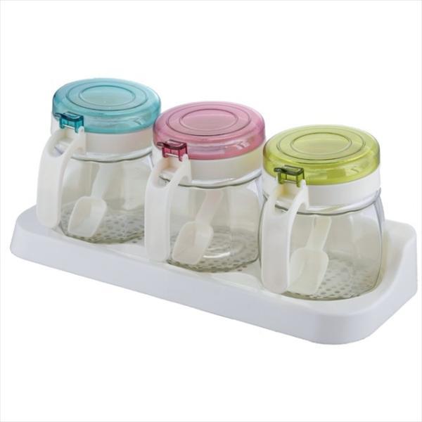 調味料カップ 容器 3個セット SV-6315 キッチン 雑貨 スパイス キャニスター 調味料 調味料ジャム瓶
