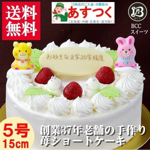 誕生日ケーキ 5号 P動物2匹 木苺デコ 生クリーム ケーキ /バースデーケーキ