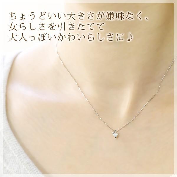 ムーンストーン ネックレス ダイヤ リボン  K10 K18ホワイトゴールド 6月誕生石|b-ciao|02
