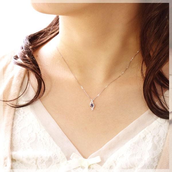 サファイア ネックレス レディース プラチナPt950 ダイヤモンド0.04ct 9月誕生石 金属アレルギー対応 彼女 妻 嫁 女性 誕生日プレゼント 20代 30代|b-ciao|02