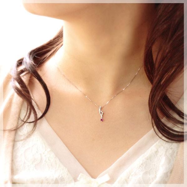 ルビー ネックレス ダイヤモンド0.05ct プラチナ950 PT950 ペンダント 7月誕生石 金属アレルギー対応|b-ciao|02