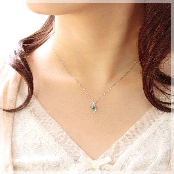 高品質AAAAエメラルド プラチナ Pt950 ネックレス レディース ダイヤモンド0.04ct ペンダント 5月誕生石 金属アレルギー対応商品|b-ciao|02