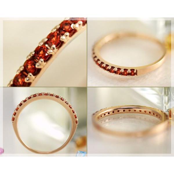 ガーネット ハーフエタニティ リング 指輪 K10ピンクゴールド 1月誕生石|b-ciao|03