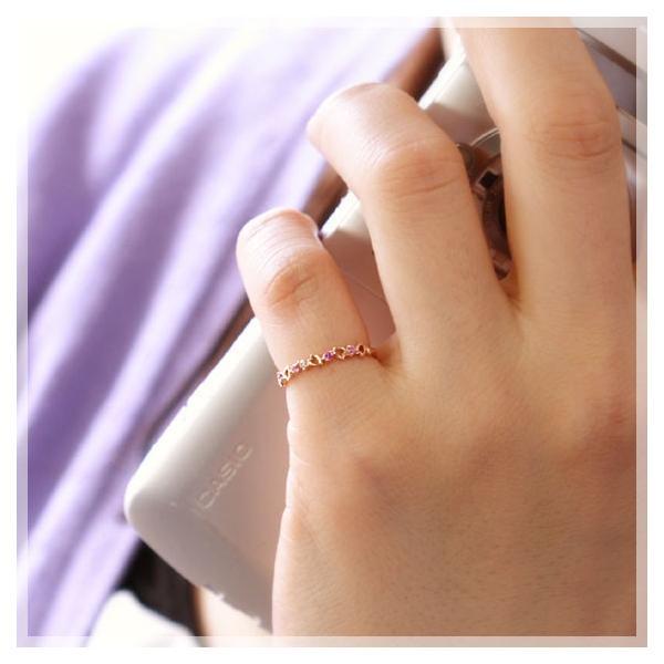 ピンキーリング ピンクサファイア ダイヤモンド 10k k10ピンクゴールド さくら 桜 花 娘 彼女 妻 嫁 女友達 女性 誕生日プレゼント 20代 30代 人気|b-ciao|02