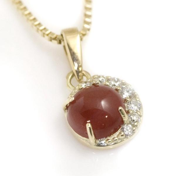 血赤珊瑚 ネックレス レディース K10 ダイヤモンド0.04ct 三日月 ペンダント 還暦祝い お祝い 母 義母 プレゼント おしゃれ 60歳 60代 50代 40代