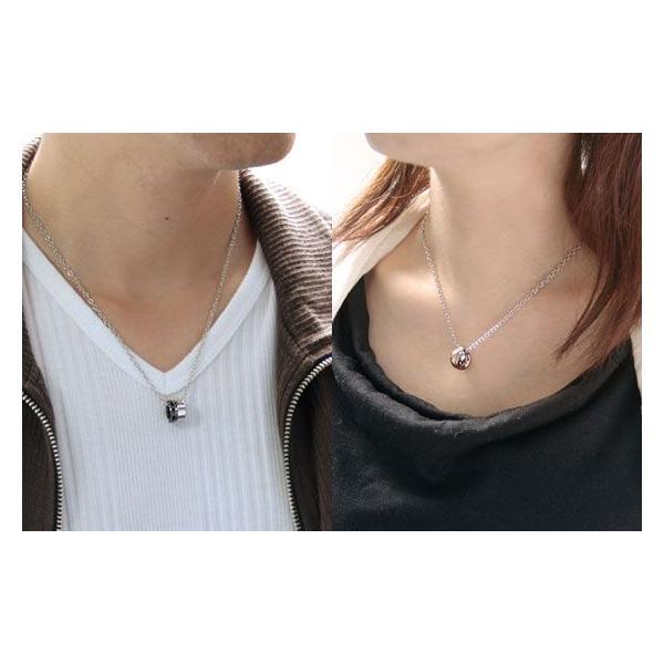 ペアネックレス closetome stステンレス ダイヤモンド ペア 2本 セット価格 刻印無料 リング表面に4文字1行まで 文字入れ 名入れ イニシャル|b-ciao|03