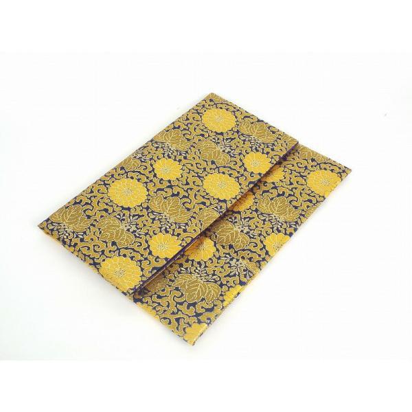 金欄位牌入れ 小 菊柄 紺色 菩提寺への持ち運び袋 位牌包み 位牌袋 ふくさ 袱紗