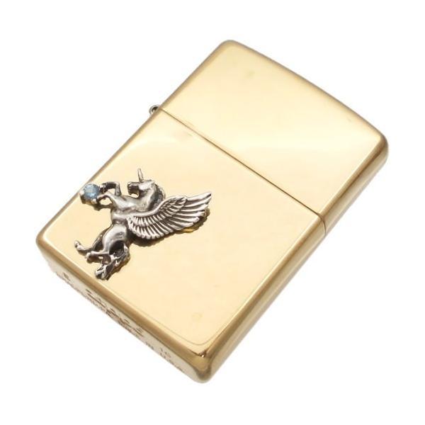 (12月)タンザナイト 有翼の ユニコーン オフセットブラスジッポ 誕生石 父の日 ギフト