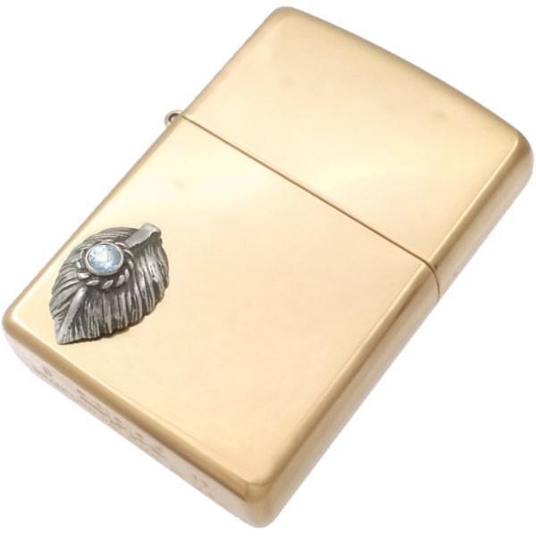 (3月)アクアマリン ブラック ネイディブ ハート フェザー ブラスジッポ 誕生石