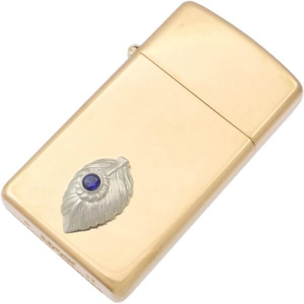 (9月)サファイア ホワイト ネイディブ ハート フェザー スリム ブラスジッポ 誕生石