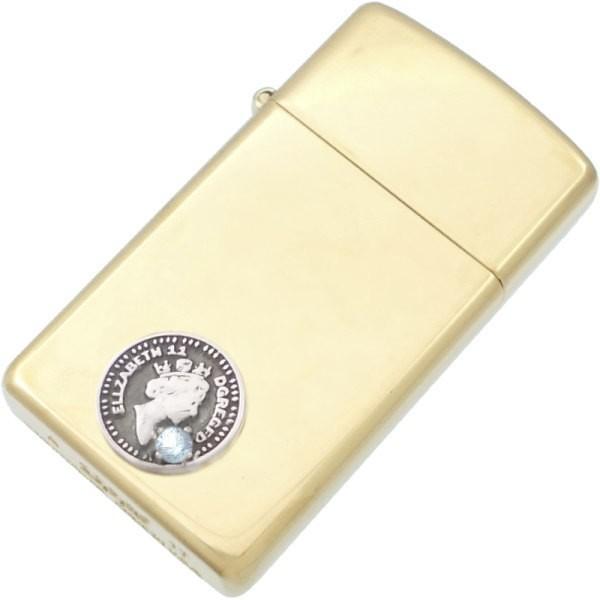 (3月)アクアマリン ブラック エリザベス コイン センター スリム ブラスジッポ  誕生石  ギフト
