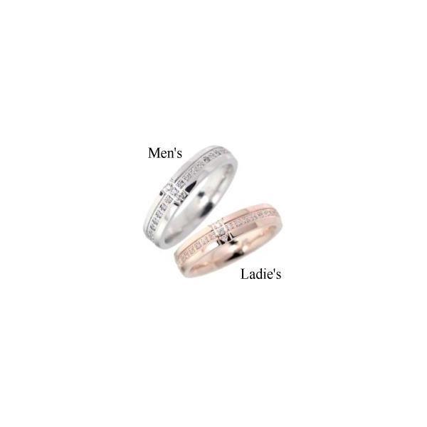 [ペア]クロスジルコニアピンク& シルバー ステンレスリング(指輪) Stainless