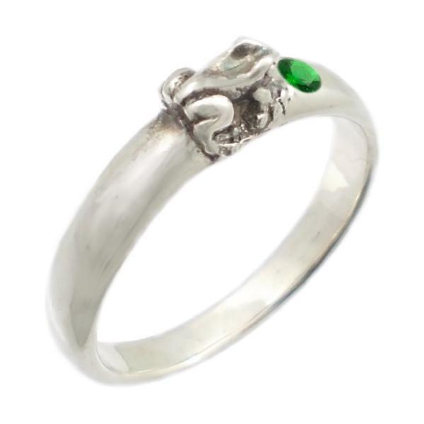 (5月)エメラルドグラス福迎カエル シルバー リング(指輪)誕生石