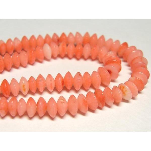 サンゴ 珊瑚 連販売 ピンク ボタン 約4.5×2mm 染色 アクセサリーパーツ パワーストーン ビーズ さんご サンゴ コーラル 山珊瑚 海竹