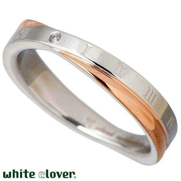 white clover ホワイトクローバー ステンレス リング 指輪 金属アレルギー対応 X クロス ダイヤモンド ローマ ペア ゴールド ブラック