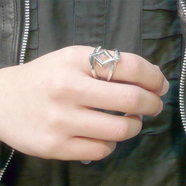 KEN BLOOD ケンブラッド クロスローズ シルバー ペア リング シルバー ピンク 指輪
