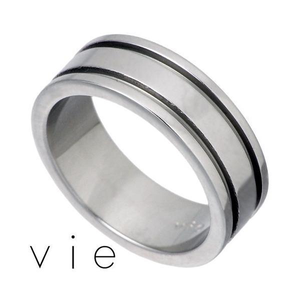vie ヴィー ステンレス リング 指輪 金属アレルギー対応 2ライン ペア 医療用サージカル316L