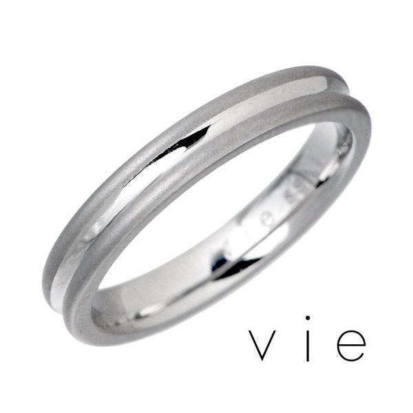 vie ヴィー ステンレス リング 指輪 金属アレルギー対応 ライン ペア K18 医療用サージカル316L