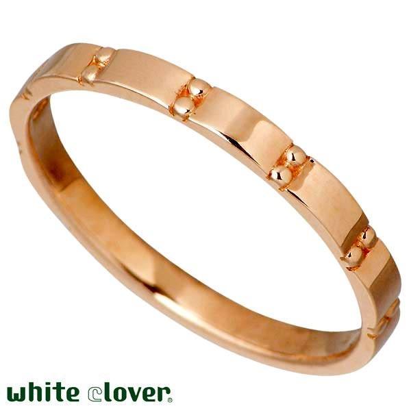white clover ホワイトクローバー 10Kゴールド丸スタッズ ペア リング 指輪