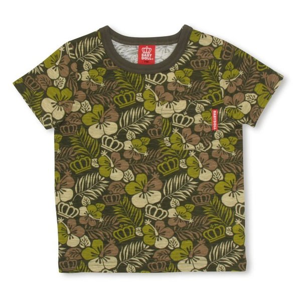 50%OFF SALE ベビードール BABYDOLL 子供服 王冠 ハイビスカス柄 Tシャツ 2417K(ボトム別売) キッズ 男の子 女の子|babydoll-y|02