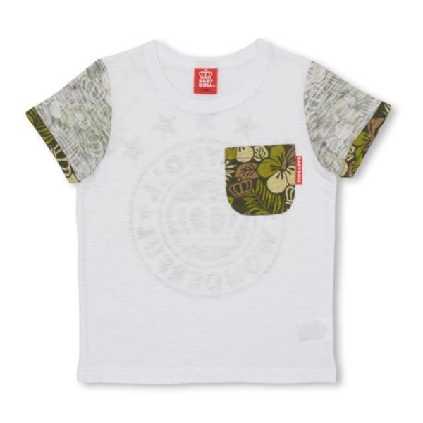 30%OFF SALE ベビードール BABYDOLL 子供服 ポケット ハイビスカス柄 Tシャツ 2418K(ボトム別売) キッズ 男の子 女の子|babydoll-y|02