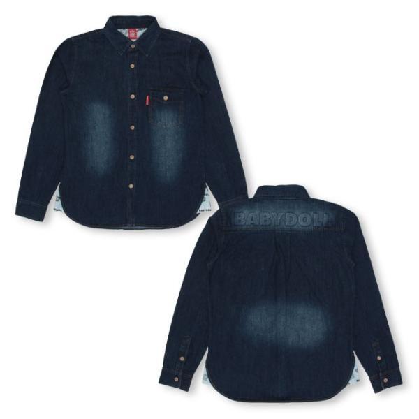 ベビードール BABYDOLL 子供服 親子お揃い デニム シャツ ジャケット 2925A 大人 レディース メンズ|babydoll-y|02