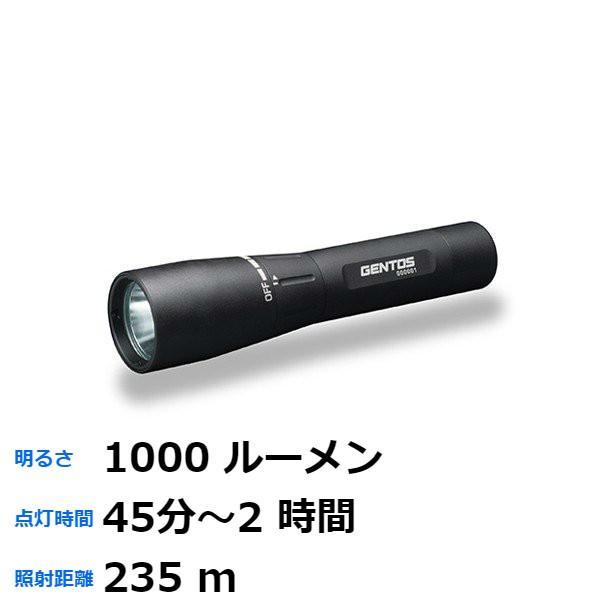 ジェントス LED懐中電灯 USB充電 1000ルーメン GF-016RG