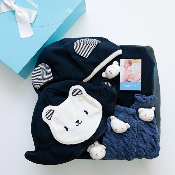 帽子・マント・トレンカのしろくまさんおでかけ3点セット(BOX付き)|babygoose