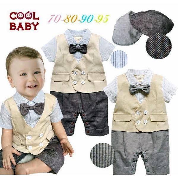 99321298b0832 ベビー子供服0歳-2歳男の子用洋服半袖&帽子セットタキシード フォーマル ...