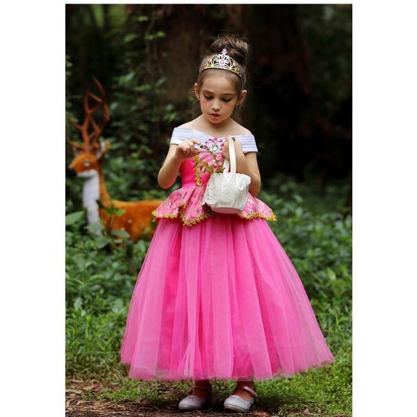 9e69af4834136 女の子用ドレス コスプレ衣装 コスチューム ワンピース 眠れる森の美女のオーロラ姫になっ