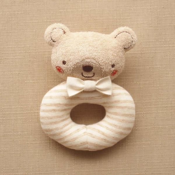 オーガニックコットン ベビーラトル リング型 くまさん ブラウン 日本製 アモローサマンマ 赤ちゃんのおもちゃ 男の子 女の子 男女兼用 ガラガラ 新生児用品