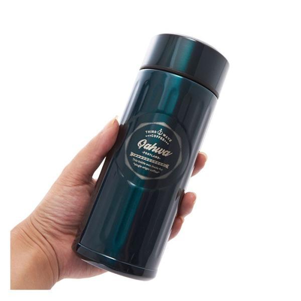 ステンレスボトル おしゃれ 420ml カフア QAHWA マグボトル テフロン加工 COFFEE こぼれない 定番 エンボスデザイン おしゃれ 保冷 保温 直飲み 飲み口|backyard-1|04