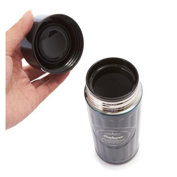 ステンレスボトル おしゃれ 420ml カフア QAHWA マグボトル テフロン加工 COFFEE こぼれない 定番 エンボスデザイン おしゃれ 保冷 保温 直飲み 飲み口|backyard-1|05