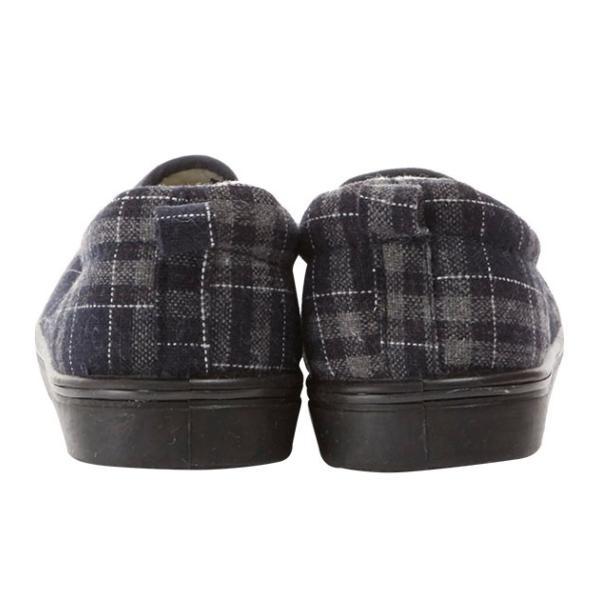 スリッポン レディース おしゃれ 40代 通販 冬用 スニーカー 暖かい 秋 もこもこ 厚手 ツイード 歩きやすい 紐なし 靴 くつ ぺたんこ チェック ネイティブ