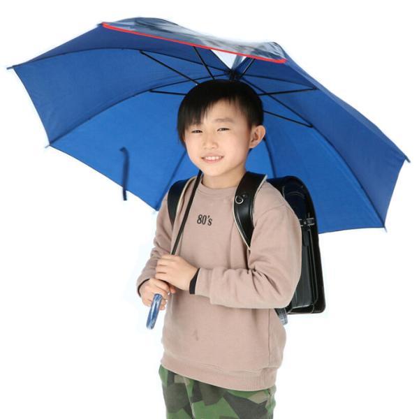 傘子供用男の子通販子供55cm長傘ジャンプ傘子どもキッズおしゃれかっこいい小学生こども透明窓雨傘ブラックネイビーグリーンブルー