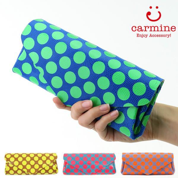 カーマイン 財布 carmine 長財布 水玉 ドット ネオンカラー 豚革 レザー レディース dlw bag-danjo