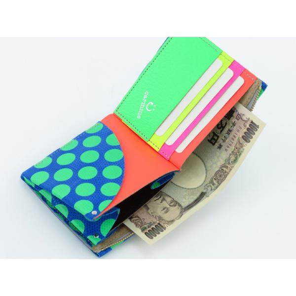 カーマイン 財布 carmine 折り財布 コンパクト ミニウォレット レザー ネオンドット ワンウォレット One Wallet Neon Dot onedt-n|bag-danjo|04