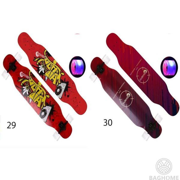 ロングスケートボード 光ウィール ロングボード スケボー 全30色 コンプリート ロンスケ カラーグリップテープ 収納ケース付き ストリート パーク|baghome|09