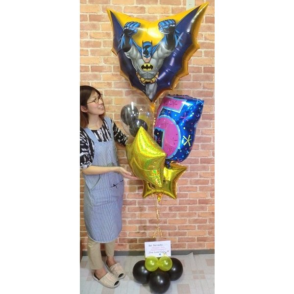 周年祝い バルーン バットマンバルーン電報 誕生日 サプライズ お祝い 男の子 周年 ヘリウムガス缶付き【佐川急便】 balloon-shop 02