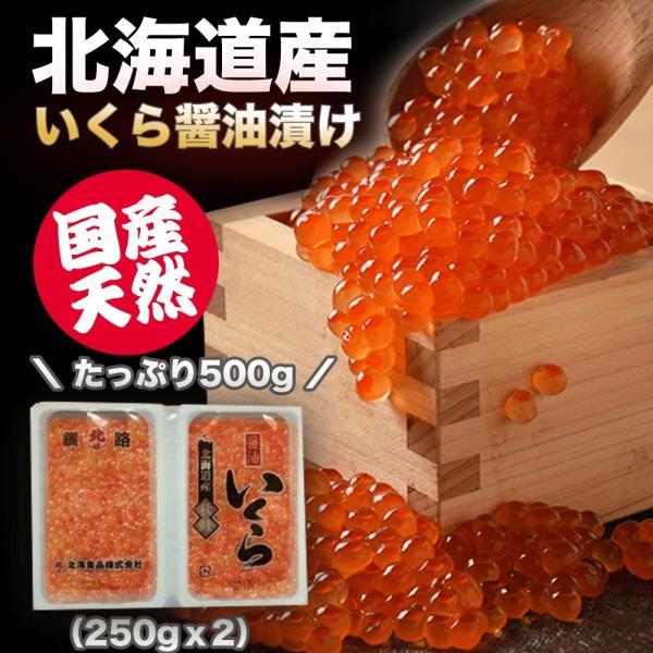 国産天然「鮭」いくら 醤油漬け 500g 北海道産 イクラ醤油漬け 醤油いくら 鮭いくら 海鮮丼 お中元 海鮮 ギフト