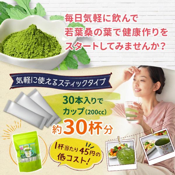 桑の葉茶 若葉 粉末 1g×30包 青汁 熊本県産 国産 健康茶 桑の葉 桑茶 効能|bansyodo1|05
