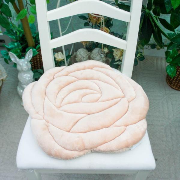 シートクッション もこもこ 薔薇型 ローズ ダイカット かわいい ピンク ベージュ 座席シート おしゃれ 薔薇雑貨|barazakkawithheart|07