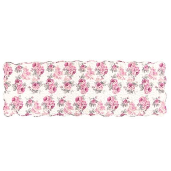 フロアーマット 約50cm×150cm ルーシー ローズ 薔薇 花柄 かわいい ピンク 後部座席シート 滑り止め キッチンマット キルト|barazakkawithheart