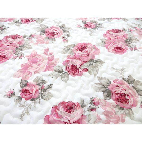 フロアーマット 約50cm×150cm ルーシー ローズ 薔薇 花柄 かわいい ピンク 後部座席シート 滑り止め キッチンマット キルト|barazakkawithheart|02