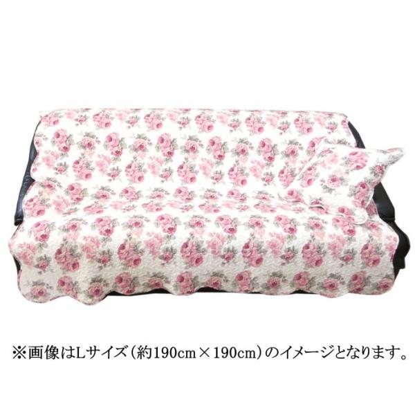 マルチカバー キルト 約130cm×130cm Mサイズ 正方形 ルーシー ローズ 薔薇 花柄 かわいい ピンク マット|barazakkawithheart|02