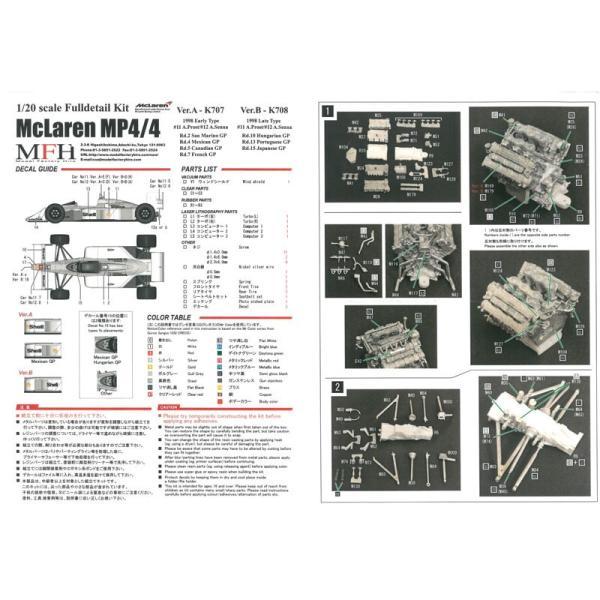 マクラーレン MP4/4(Late Type)スポンサーデカール付き Ver.B【モデルファクトリーヒロ 1/20 MFH K708】 barchetta 09