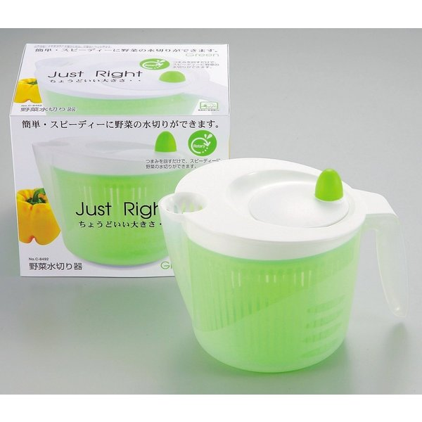 サラダスピナー Just right  野菜水切り器 グリーン C-8492 キッチン 調理器具 食洗機対応 パール金属 bargain-l