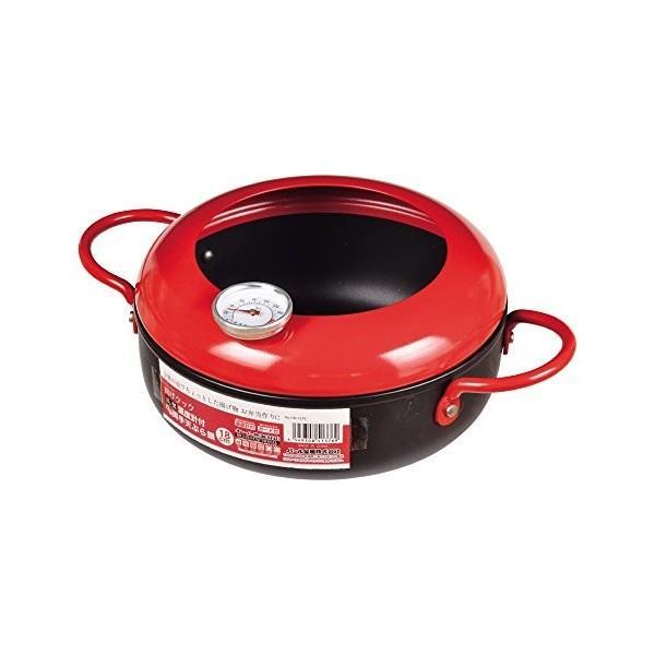 揚げクック 両手天ぷら鍋 18cm 鉄製温度計付 レッド HB-1376 フライ鍋 小さい おしゃれ お弁当作り パール金属