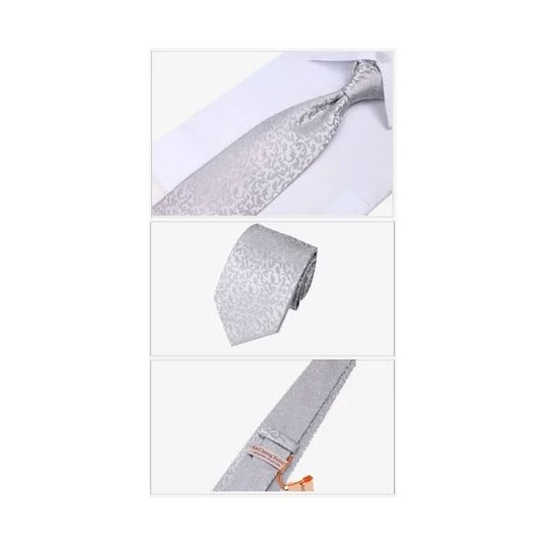 ネクタイ ネクタイピン チーフ カフスボタン 4点 セット グレー 灰色 シルバー 銀色 花柄  送料無料 barsado2 03