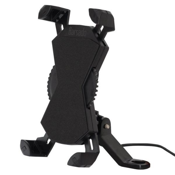 バイク スマホホルダー スマホ 充電 ホルダー スマホスタンド 防水 USB 電源 スマートフォン ON/OFFスイッチ付属 ダイヤル式 ミラーバータイプ|barsado2